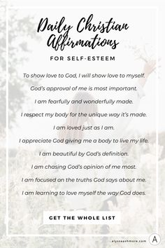 Daily Christian Affirmations for Self-Esteem. Remind Yourself of Your True Worth. 💖