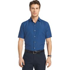 Men's Van Heusen Air Wovens Classic-Fit Poplin Performance Button-Down Shirt, Size: Medium, Blue Other