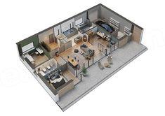 Projekt domu Murator C365h Przejrzysty - wariant VIII 91,6 m2 - koszt budowy 239 tys. zł - EXTRADOM 3d House Plans, House Plans Mansion, House Layout Plans, House Layouts, Apartment Layout, Home Studio, House Goals, Planer, Home Projects