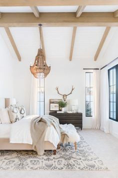 Mountain Chic Meets Modern Farmhouse in a Rustic Refined Retreat. #bedroom #modernfarmhouse #rustic