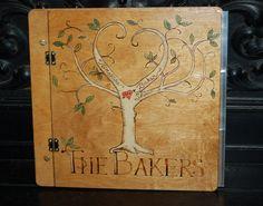 Custom Wood Book Cover - Family Tree Photo Album / Scrapbook - Woodburned Tree of Life with Secret Heart