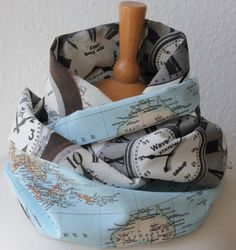 Unisex Loop/ Scarf/ map of the world/ blue/ grey/ clocks - Time is my everything