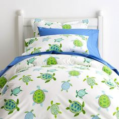 Sea Turtle Percale Duvet Cover - Friendly turtles swim in all directions across this charming kids' duvet cover in soothing green and blue hues. Kids Sheets, Coastal Bedrooms, Bedding Shop, Sheets Bedding, Percale Sheets, New Room, Luxury Bedding, Beach Bedding, Duvet Covers