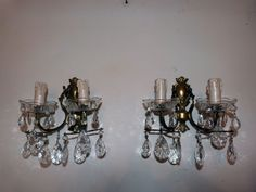 Antique French crystal brass wall sconces lighting light fixtures romantic Chateau boudoir wallsconce lamps w facetted lustres beads drops by MyFrenchAntiqueShop on Etsy
