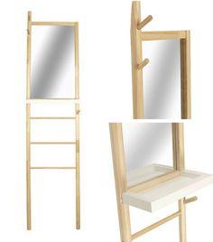 Échelle porte-serviettes avec miroir et vide-poches http://www.homelisty.com/meubles-multifonctions/