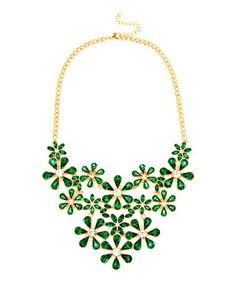 Look at this #zulilyfind! Goldtone & Green Crystal Floral Bib Necklace #zulilyfinds