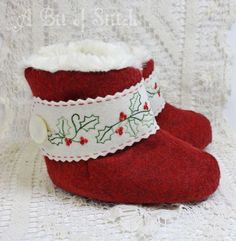 """Fit for a wee winter princess! Felt booties lined in faux fur with machine embroidered felt cuffs - Sashiko stitching detail on the pinked edges! """"Wrenly"""" designs by A Bit of Stitch"""