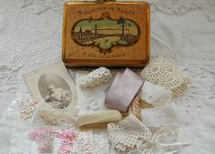 Vintage French tin, with inspiration kit, vintage French lace, antique photograph, lawn cotton hankie, vintage sequins, Berlingots tin