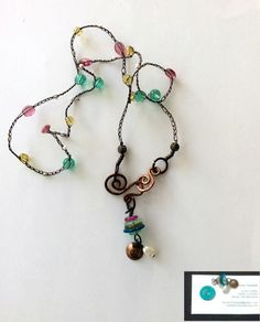 Wire crocheted necklace for the Bead Soup Bead Hoarders edition 2017 hosted by Lori McDaniel Anderson Wire Crochet, Folk Embroidery, Handcrafted Jewelry, Crochet Necklace, Jewelry Necklaces, Soup, Drop Earrings, Personalized Items, Beads