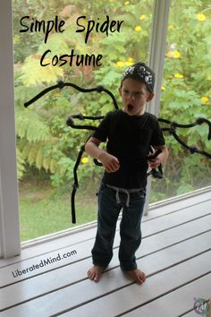 Spider Costume for Halloween. Tutorial for making a backpack spider and goggly eye hat. | LiberatedMind.com