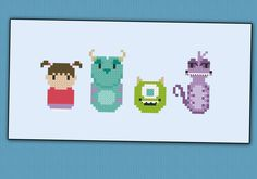 Monsters Inc. parody Cross stitch PDF pattern by cloudsfactory, $4.50