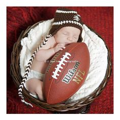 Newborn hat photography prop football ear by WeeBeeUniquesByJulie, $18.00  Photography by jivanlake.com