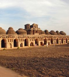Hampi Elephant Stables / Vijayanagara complex in Karnataka, India. These 11 domed chambers were once built to house the royal elephants.