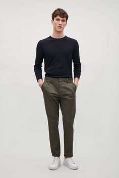 COS image 1 of Cotton stretch chinos in Khaki Green