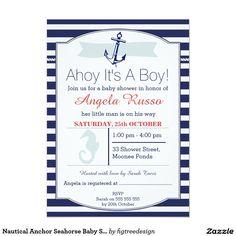 Nautical Anchor Seahorse Baby Shower Invitation