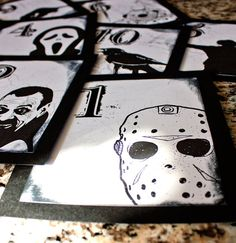 Thought you might think these were cool, they are all horror character table numbers, you can choose which ones you want or just have them all the same but with different numbers haha.