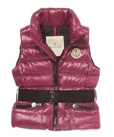Moncler Discount Down Sleeveless Vest Women Zip Wine Red! Only $265.9USD