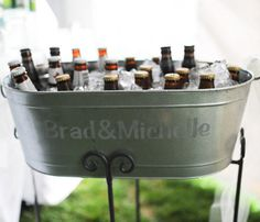 Personalized galvanized bucket for cold drinks.