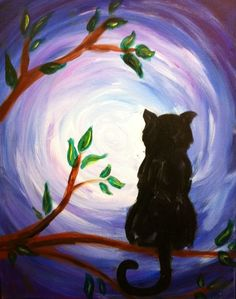 Black cat in tree, moonlight kitty cats! in 2019 black cat painting, mini. Kids Paint Night, Black Cat Drawing, Painted Rocks Kids, Spirited Art, Mini Canvas Art, Pictures To Paint, Canvas Pictures, Painting & Drawing, Painting Lessons