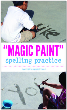 "Using ""magic paint"" is a super simple, low-cost, and virtually no-mess way for kids to practice spelling words or sight words. Word Study Activities, Spelling Activities, Science Activities For Kids, Kindergarten Activities, Listening Activities, Outdoor Activities, Montessori Activities, Summer Activities, Spelling Practice"