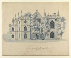 East view of Strawberry-hill near Twickenham in Middlesex [art original] / J.H. Müntz 1758. Creator: Müntz, Jean-Henri, 1727-1798, artist. Published/Created: [Twickenham], [1758] Physical Description: 1 drawing : pen and ink, blue wash, with pencil on laid paper ; sheet 23.5 x 29.4 cm.