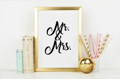 Mr. and Mrs. Minimalist Wall Art - Bring Instagram into your Home! Great Wedding Gift! Keepsake