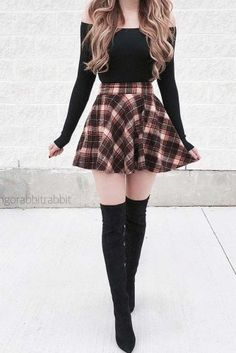 36 schicke Herbst-Outfit-Ideen, die Sie lieben werden 36 chic fall outfit ideas that you'll love – – Teen Fashion Outfits, Edgy Outfits, Cute Casual Outfits, Cute Fashion, Pretty Outfits, Womens Fashion, Fashion Dresses, Cheap Fashion, Cute Outfits With Skirts