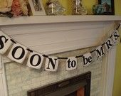SOON to be MRS Bridal Shower Bachelorette Banner Photo Prop You Choose the Colors