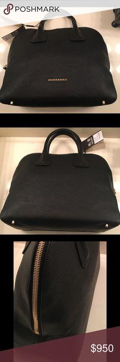 black leather burberry handbag