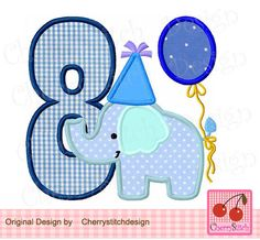 Embroidery applique Birthday Elephant Number 8, Baby Elephant with number 8, Birthday number-4x4 5x5 6x6 inch-Machine Embroidery Applique by CherryStitchDesign on Etsy