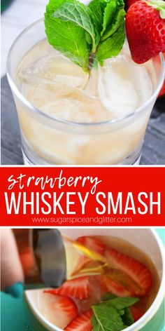 The perfect easy whiskey cocktail for summer, this Strawberry Whiskey Smash tastes just like a Strawberry Lemonade. It's the perfect whiskey cocktail for serving to guests who are new to whiskey Strawberry Alcohol Drinks, Strawberry Banana Milkshake, Drinks Alcohol Recipes, Strawberry Lemonade, Cocktail Recipes, Drink Recipes, Alcoholic Drinks, Cocktail Ideas, Margarita Recipes