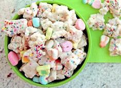 Mt kids will love this!1 box (11.5 oz) Lucky Charms® cereal 6 cups Rice Chex® or Corn Chex® cereal 2 bags (12 oz each) white vanilla baking chips (4 cups) 1/4 cup multicolored candy sprinkles