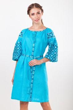 Чарівна лляна сукня  натуральний льон яскравого та енергійного кольору