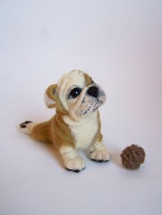 Needdle felted Ooak tiny dog- Articulated English Bulldog-Soft sculpture-Collectible artist animals
