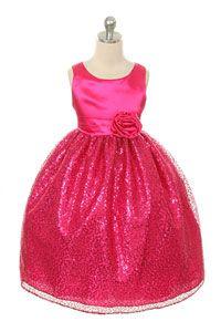 #HolidayFlowerGirlDresses - Girls Dress Style 270 - FUCHSIA Sleeveless Satin Dress with Sequin Skirt