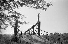 Man on bridge. From the Chesterfield Missouri film collection. #foundfilmsociety #foundfilm #foundphoto #kodak #kodakfilm #35mm #35mmfilm #filmphotographic #filmfeed #rescuedfilm #bridge #vintagefilm...