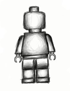The basic shape of a Lego Minifigure with some shading thrown in to add some character. .