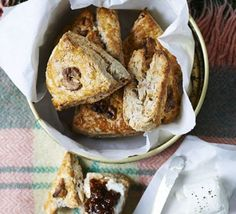 Serve up these savoury, nutty homemade scones with soft goat& cheese and fig jam for an easy picnic treat Bbc Good Food Recipes, Cooking Recipes, Free Recipes, Homemade Scones, Savory Scones, Fig Jam, High Tea, Tray Bakes, Afternoon Tea