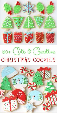 Cute & Creative Decorated Christmas Cookies - An amazing collection of cookie ideas! | Glorious Treats Decorated Christmas Cookies, Christmas Cut Out Cookies, Decorated Sugar Cookies, Sugar Cookie Decorating, Christmas Cookie Icing, Iced Sugar Cookies, Sugar Cookie Icing, Christmas Biscuits, Xmas Cookies