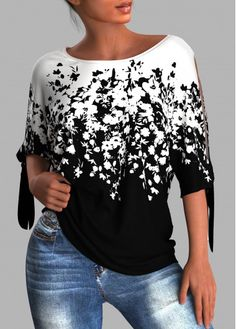 Stylish Tops For Women, Trendy Fashion, Fashion Outfits, Floral Sleeve, Bellisima, Designing Women, Shirt Style, Floral Prints, T Shirts For Women