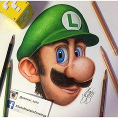 """""""Realistic Luigi , finally done !  #supermario #arts_help #worldofpencils #artfido #art_spotlight #coloredpencil #drawing"""""""