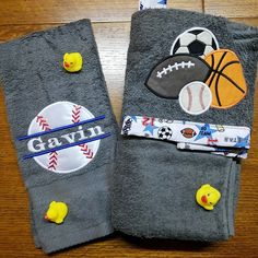 Sports Hooded Towel, Kids towel, Hooded bath towel, Baseball, Soccer, Football, Baseball towel, Stitches by natalie by StitchesbyNatalie on Etsy