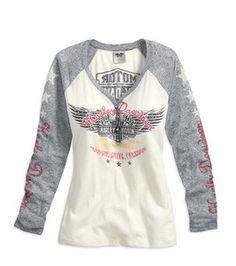 Harley-Davidson® Shirt, Women's Passion, Drive, Freedom Raglan Tee, Off White, Grey