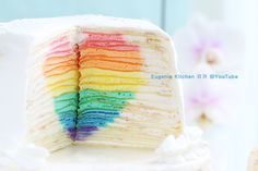 "Mille Crepe Cake with Hidden Rainbow Heart ""Eugenie Cake"" for Valentine's Day"