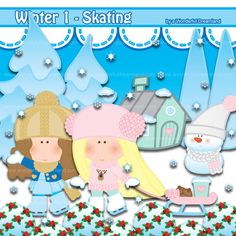 Ice Skating Winter Holiday 1 - PNG SVG EPS Vector Instant Download Printable Cliparts Clip Arts Digital File Scrapbooking Kit by clipartsuperstore on Etsy