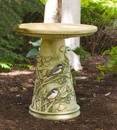 Unique pedestal bird bath is hand painted with stunning attention to detail. Attract more songbirds and keep them around longer with fresh water in a birdbath. The Chickadee Bath features a glazed bow