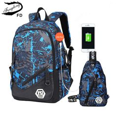 73fd7490a854 FengDong blue External USB Charge men travel Backpack Male Laptop bag 15.6  college bags high school backpacks for boys rucksack-in Backpacks from  Luggage ...