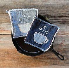 Caliente café agarraderas - agarraderas de Blue Jeans - las agarraderas mejor siempre