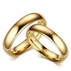 Minimal Totem | Classic Couple Domed Gold Tone Polished Tungsten Carbide Wedding Band 6mm 1