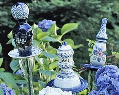 Get a drill bit for glass and create some garden totems from old vases, ceramic containers, dishes and more...